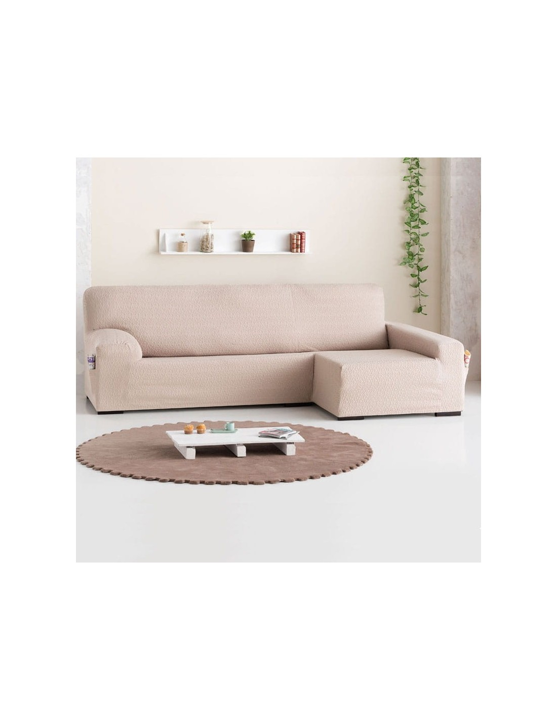 Funda sof chaise longue eysa brazo largo tendre sofundas - Fundas de sofa con chaise longue ...